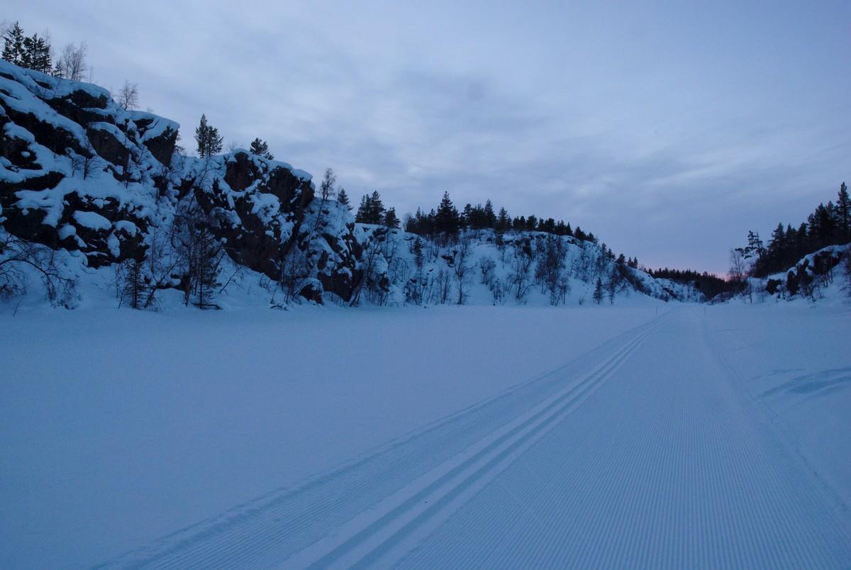 Skiing Track Over Lake Pahtajärvi
