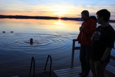 Me, swimming in lake Mutusjärvi