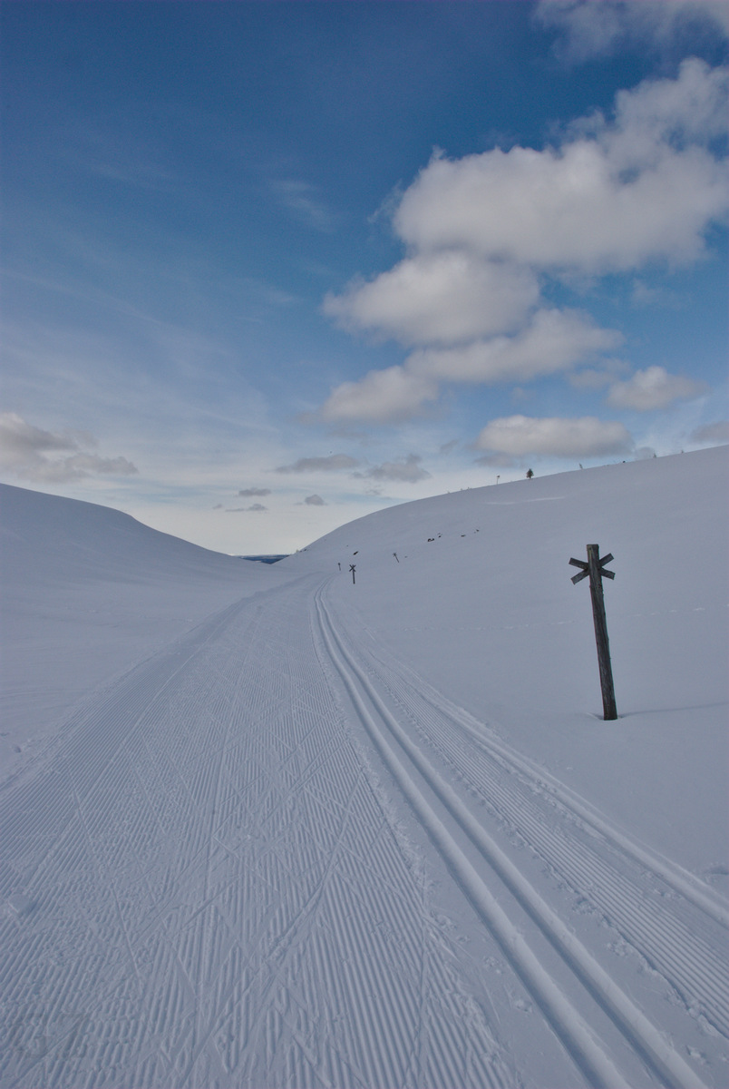 Maintained skiing tracks on top of the fells
