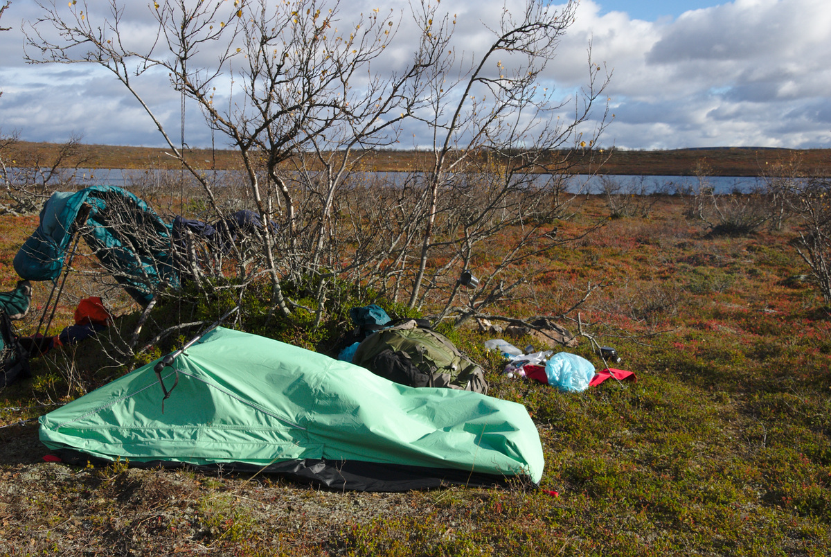 Bivy bag supported by a line bound to a tree