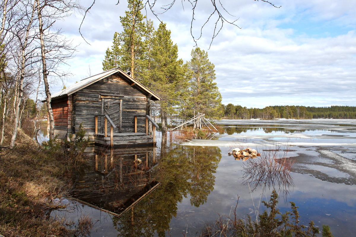 wodden sauna building flooded during spring flood