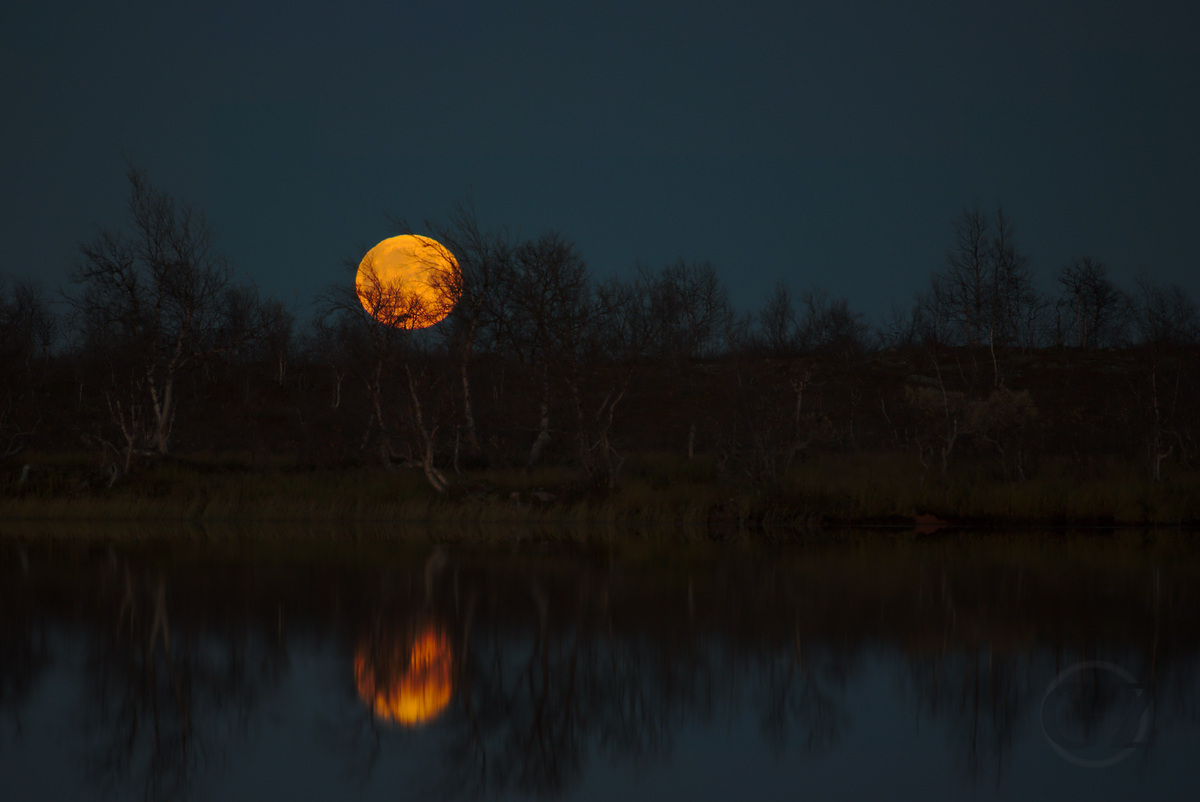 moon rise with reflection in lake