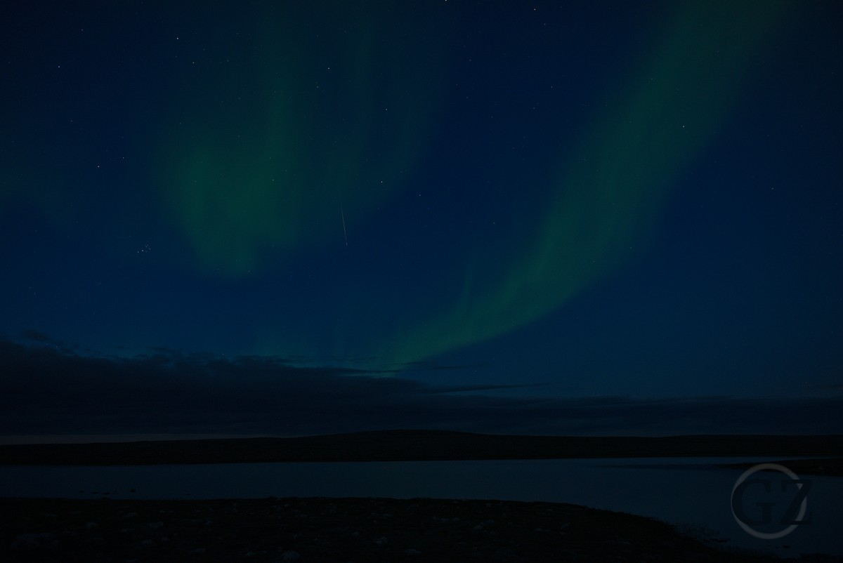 aurora borealis over a tundra lake in a bright night