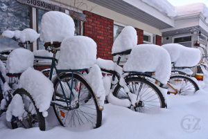 snowcovered bicycles