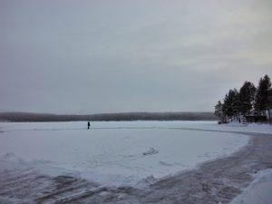 Ice skating on lake